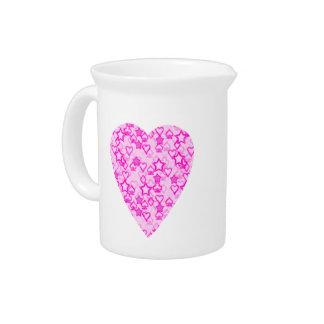 Pink Heart. Patterned Heart Design. Drink Pitchers
