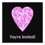 Pink Heart. Patterned Heart Design. 5.25x5.25 Square Paper Invitation Card