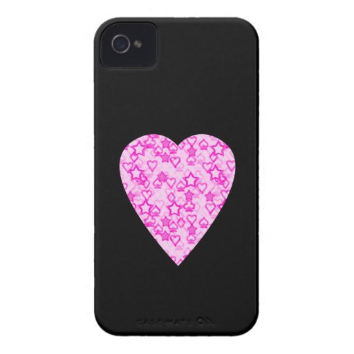 Pink Heart. Patterned Heart Design. iPhone 4 Case