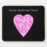 Pink Heart. Patterned Heart Design. Mouse Pad