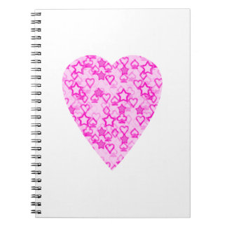 Pink Heart. Patterned Heart Design. Notebooks