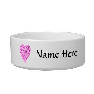 Pink Heart. Patterned Heart Design. Cat Food Bowls