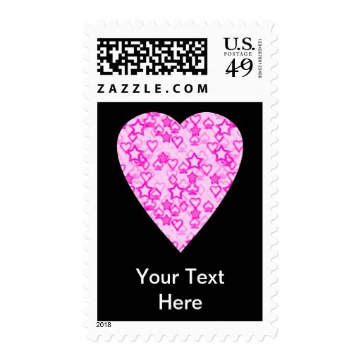 Pink Heart. Patterned Heart Design. Stamp