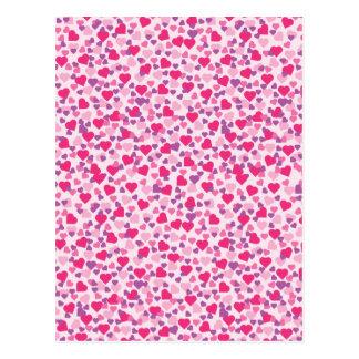 Pink Heart Patterns Postcard
