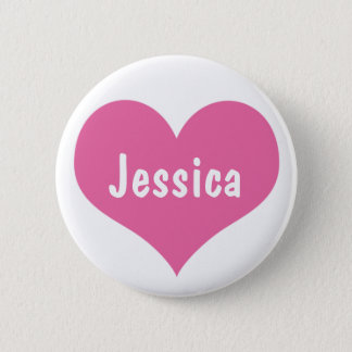Pink Heart - Personalized Girly Name Button