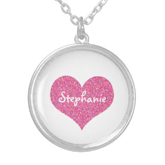Pink Heart Personalized Girly Name Silver Plated Necklace