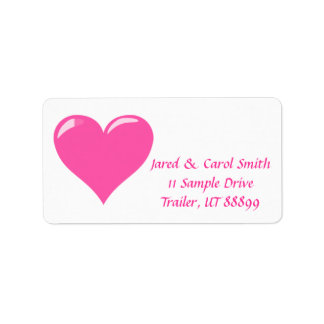 Pink Heart Personalized Mailing Labels