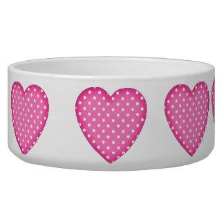 pink heart pet food bowl