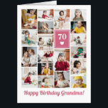 """Pink Heart Photo Collage Birthday Grandma Big Card<br><div class=""""desc"""">Wish grandma a happy birthday with this jumbo photo collage birthday card to which you can add 19 photos of the grand kids,  and grandmas age in big white letters against a pink background with a white heart.</div>"""