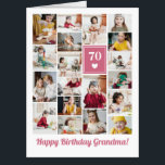 "Pink Heart Photo Collage Birthday Grandma Big Card<br><div class=""desc"">Wish grandma a happy birthday with this jumbo photo collage birthday card to which you can add 19 photos of the grand kids,  and grandmas age in big white letters against a pink background with a white heart.</div>"