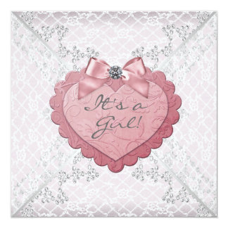 """Pink Heart Pink White Lace Baby Shower 5.25"""" Square Invitation Card"""
