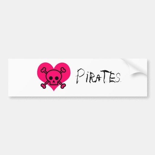 Pink Heart Pirates Car Bumper Sticker