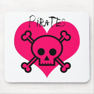 Pink Heart Pirates Mouse Pad
