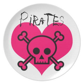 Pink Heart Pirates Dinner Plates