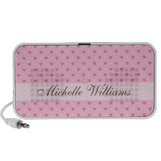 Pink heart polka dots personalized custom speakers
