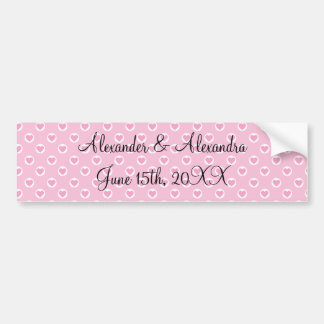 Pink heart polka dots wedding favors bumper stickers