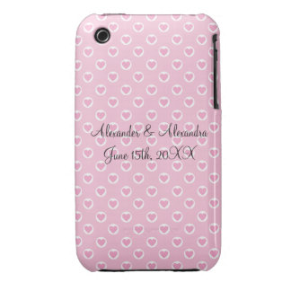 Pink heart polka dots wedding favors iPhone 3 cases