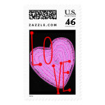 Pink Heart Postage Stamps