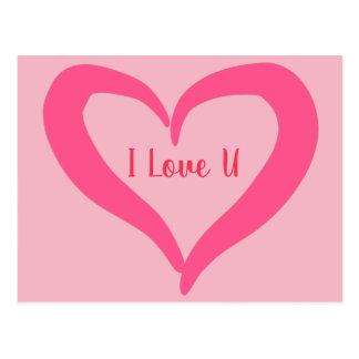 Pink heart postcard