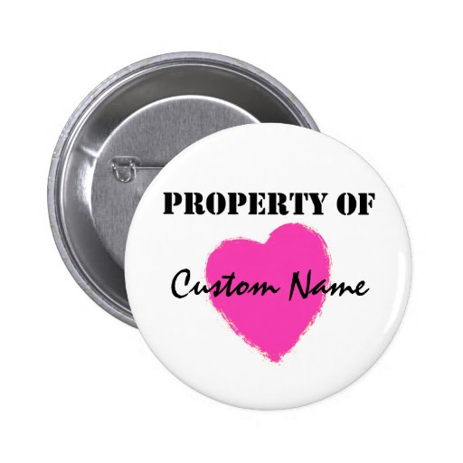 Pink Heart Property Of Shirt 2 Inch Round Button