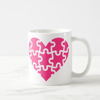 Pink heart puzzle coffee mug