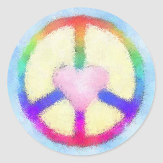 Pink Heart Rainbow Peace Sign Classic Round Sticker