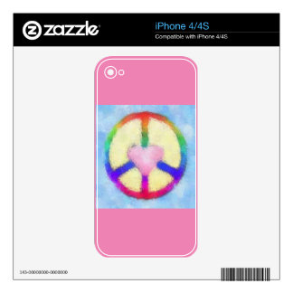 Pink Heart Rainbow Peace Sign iPhone 4 Decals