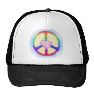 Pink Heart Rainbow Peace Trucker Hat