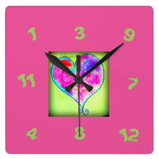pink heart random number square wall clock