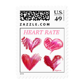Pink Heart Rate Small Postage