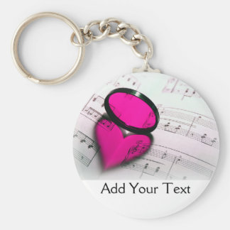 Pink Heart Reflection on Sheet Music Keychain