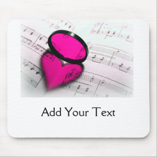 Pink Heart Reflection on Sheet Music Mouse Pad