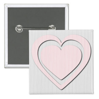 Pink Heart Retro Pattern Striped - Button