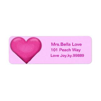Pink Heart Return address Lables Label