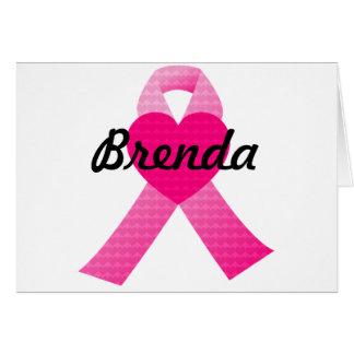 Pink Heart Ribbon Breast Cancer Awareness Card