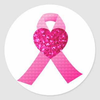 Pink Heart Ribbon Breast Cancer Awareness Classic Round Sticker