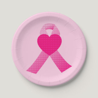 Pink Heart Ribbon Breast Cancer Awareness Custom Paper Plate