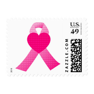 Pink Heart Ribbon Breast Cancer Awareness Postage