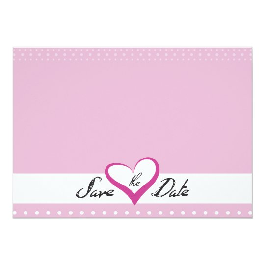 Pink Heart Save the Date Card