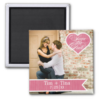 Pink Heart | Save the Date Photo Magnet