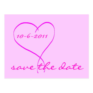 Pink heart save the date postcard