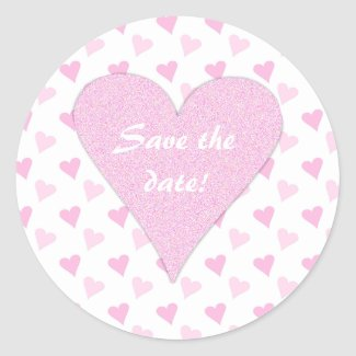 Pink Heart Save The Date Stickers sticker