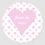 Pink Heart Save The Date Stickers