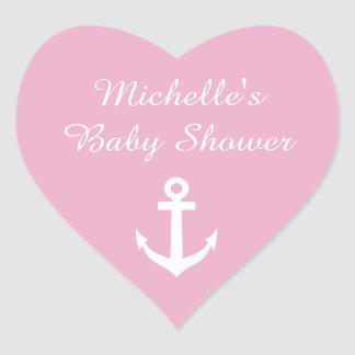 Pink heart shaped baby shower stickers with anchor