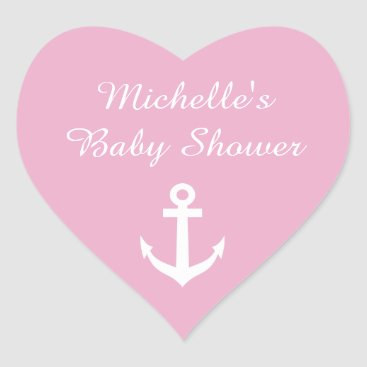 Valentines Themed Pink heart shaped baby shower stickers with anchor