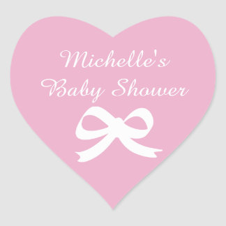 Pink heart shaped baby shower stickers with bow
