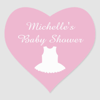 Pink heart shaped baby shower stickers with tutu