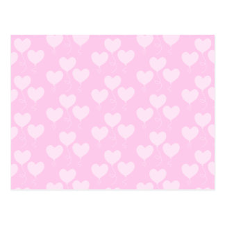 Pink Heart Shaped Balloons Pattern. Postcard