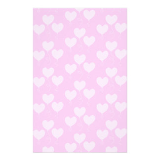 Pink Heart Shaped Balloons Pattern. Stationery