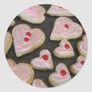 Pink Heart Shaped Cookies Classic Round Sticker
